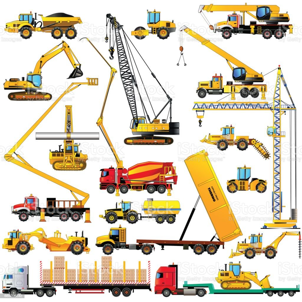Set Of Heavy Construction Machines Icons On White Background Vector