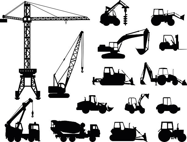 Set of heavy construction machines icons. Vector illustration vector art illustration