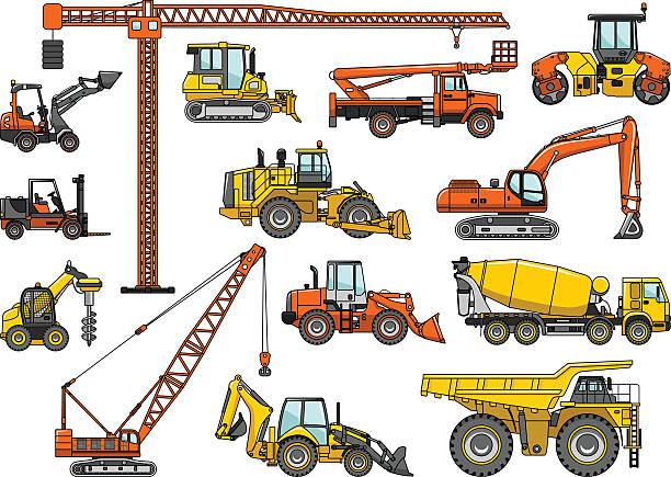 stockillustraties, clipart, cartoons en iconen met set of heavy construction machines. vector illustration - shovel