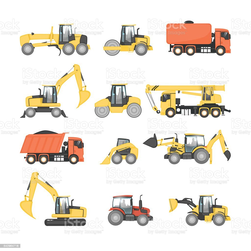 Set of heavy machinery for road repair. vector art illustration