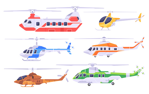 Set of helicopters
