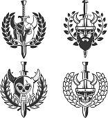 set of helmets with wreath and sword. Design element for  label, emblem, sign.