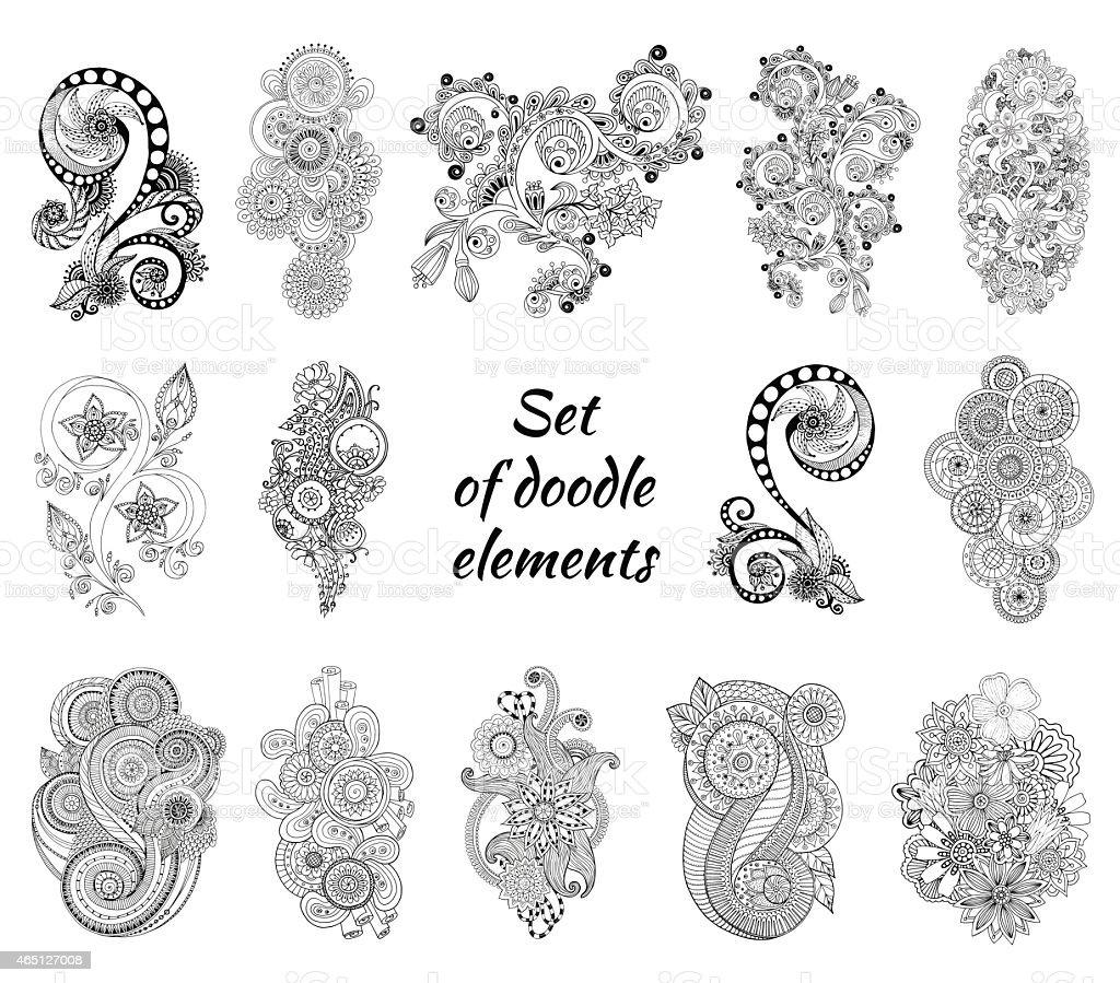 Set of Henna Paisley Mehndi Doodles Element vector art illustration