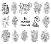 Set of Henna Paisley Mehndi Doodles Element