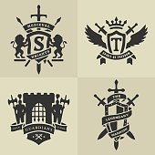 Set of heraldic medieval emblems.