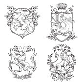 Vector set of various heraldic shields with different heraldic animals: dragons, wolf and lion in the center on a white background. Coat of arms, heraldry, emblem, symbol. Line art.