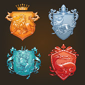 Vector set of various heraldic shields with different heraldic animals: lion, wolf, unicorn, dragon in the center on a dark background. Coat of arms, heraldry, emblem, symbol. Color image.