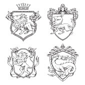 Vector set of various heraldic shields with different heraldic animals: lions, wolf and dragon in the center on a white background. Coat of arms, heraldry, emblem, symbol. Line art.