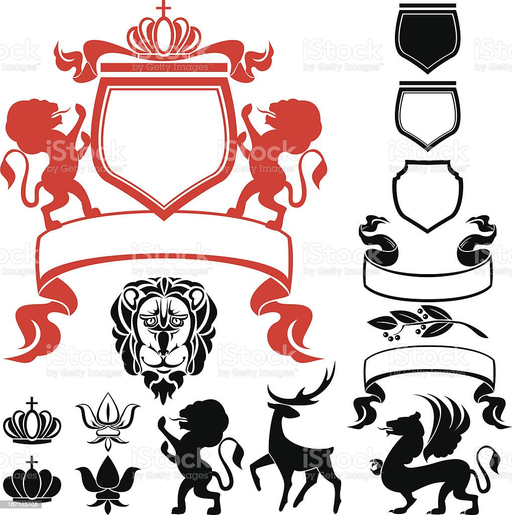 Set of heraldic silhouettes elements royalty-free stock vector art