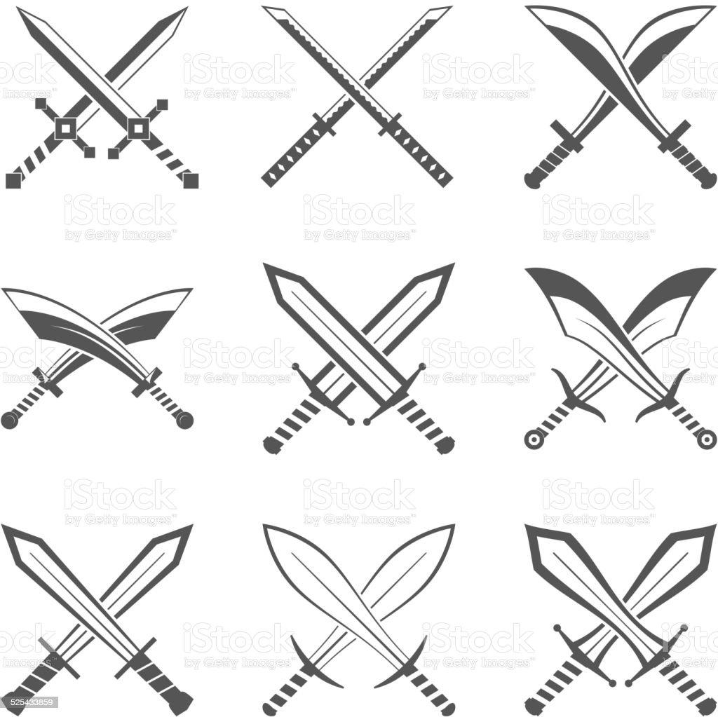 Set of heraldic swords and sabres for heraldry design vector vector art illustration