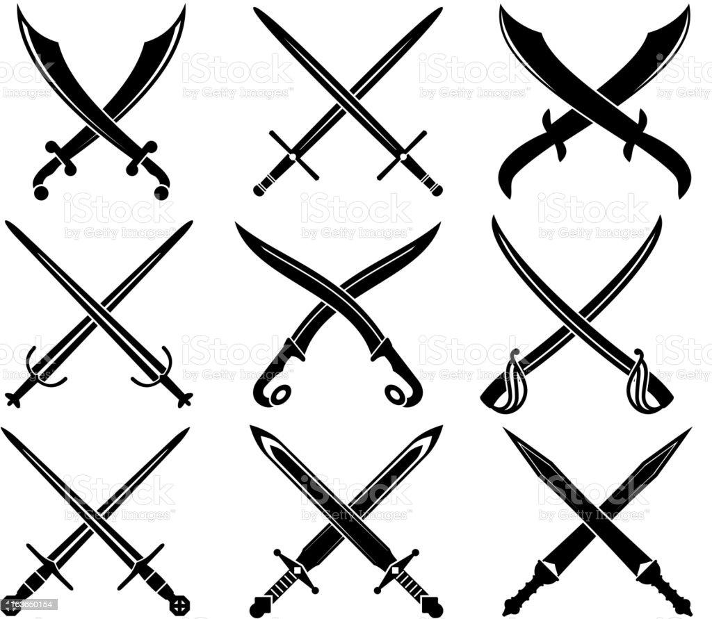 Set of heraldic swords and sabres vector art illustration