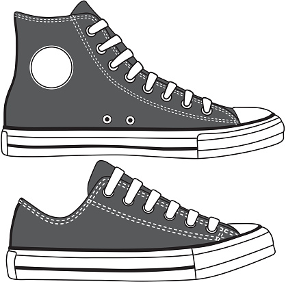 Set of high and low sneakers drawn.