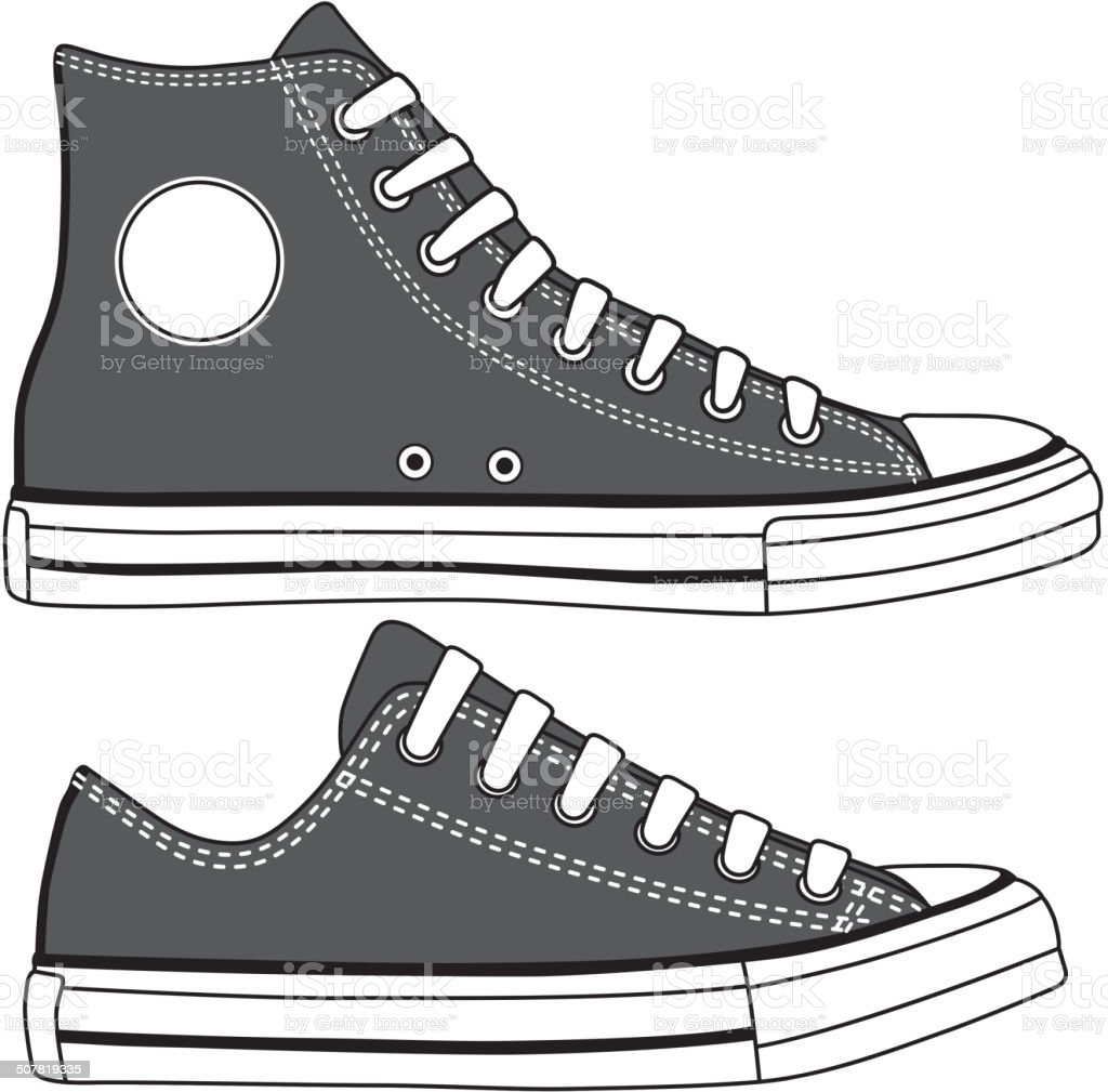 Set of high and low sneakers drawn. vector art illustration