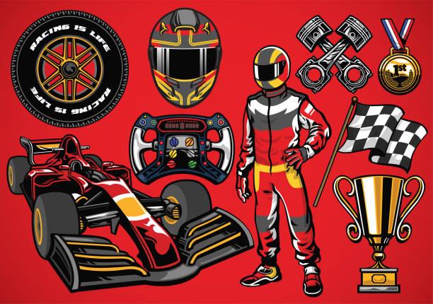 satz von hoch detaillierte formel racing auto-element - sportschutzhelm stock-grafiken, -clipart, -cartoons und -symbole