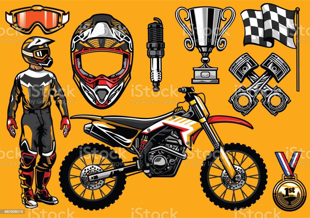 Jeu de motocross détaillée haute, élément de course jeu de motocross  détaillée haute élément de