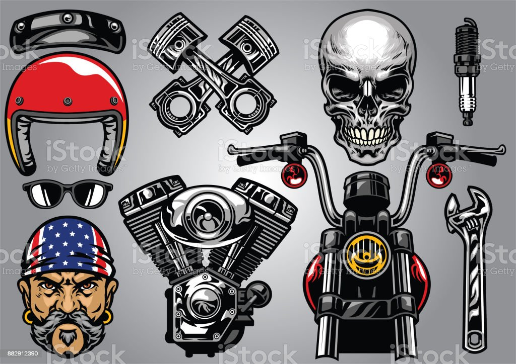 set of high detailed motorcycle element vector art illustration