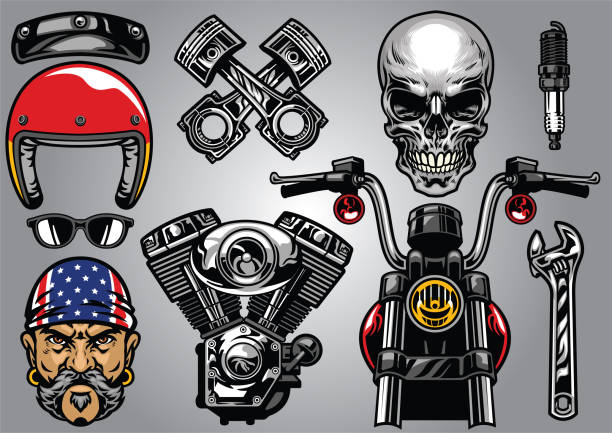 set of high detailed motorcycle element - old man sunglasses stock illustrations, clip art, cartoons, & icons