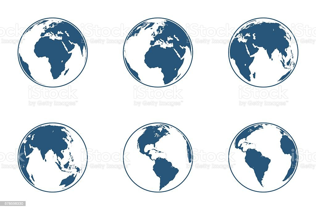Set of high detailed vector globes. Vector illustration. - ilustración de arte vectorial