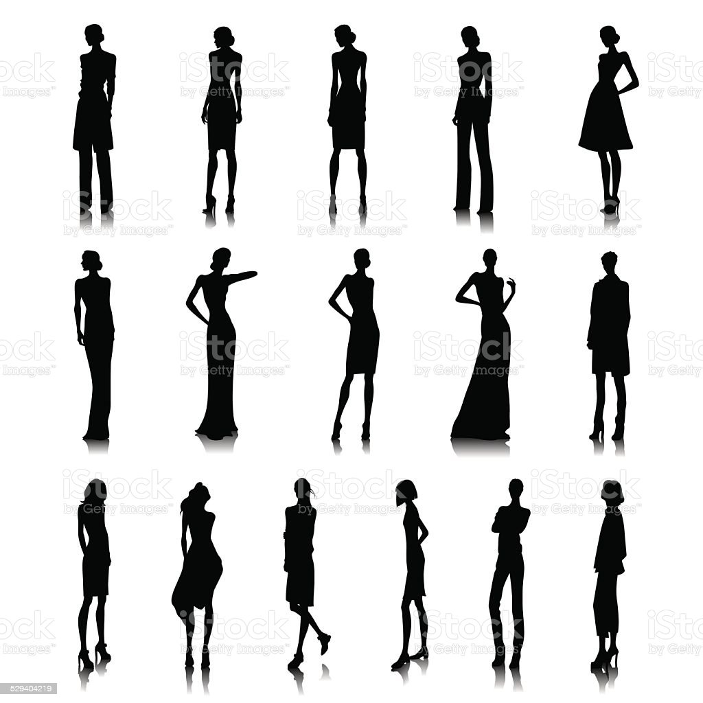 Set of high fashion women vector art illustration