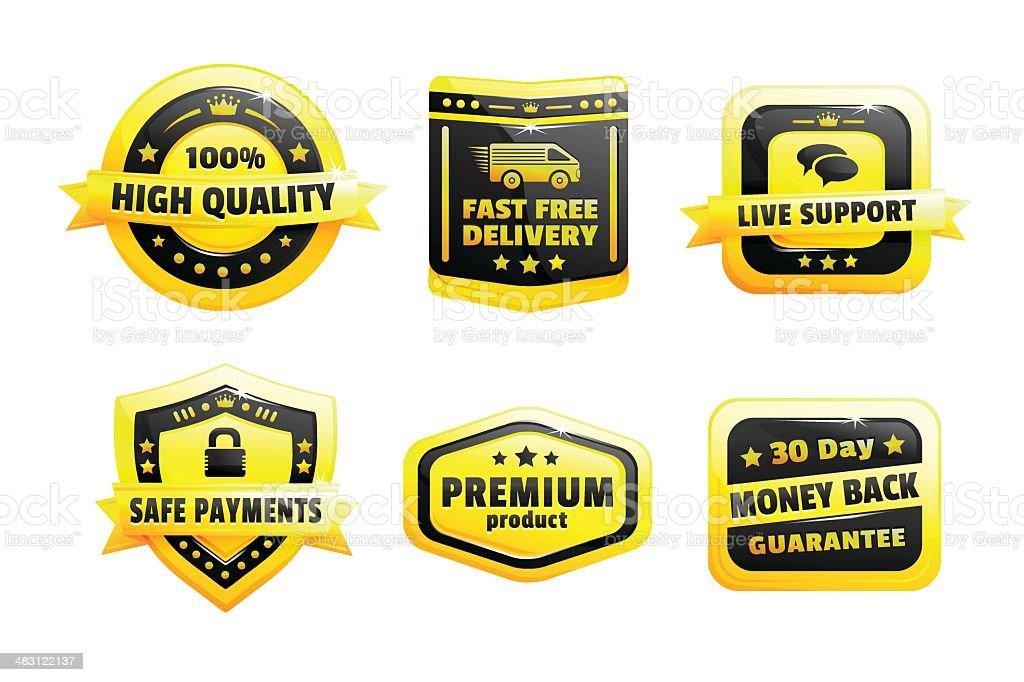 Set Of High Quality Badges royalty-free set of high quality badges stock vector art & more images of award ribbon