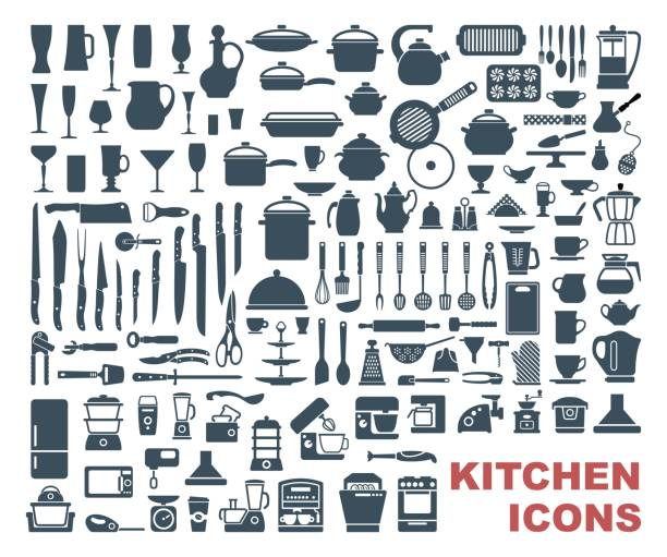 Set of high quality kitchen icons Set icons of dishware, utensils and kitchen appliances kitchen stock illustrations
