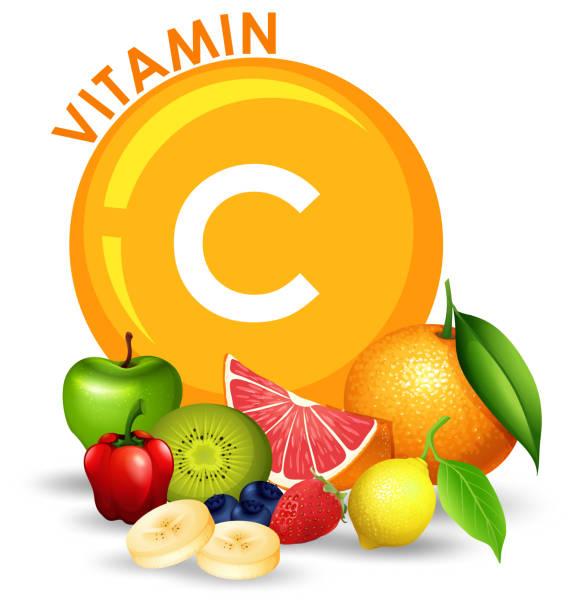 stockillustraties, clipart, cartoons en iconen met een aantal hoge vitamine c-fruit - vitamine c