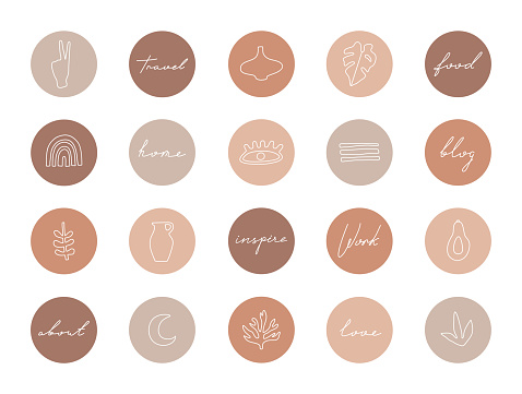 Set of highlight covers, abstract shapes and lines
