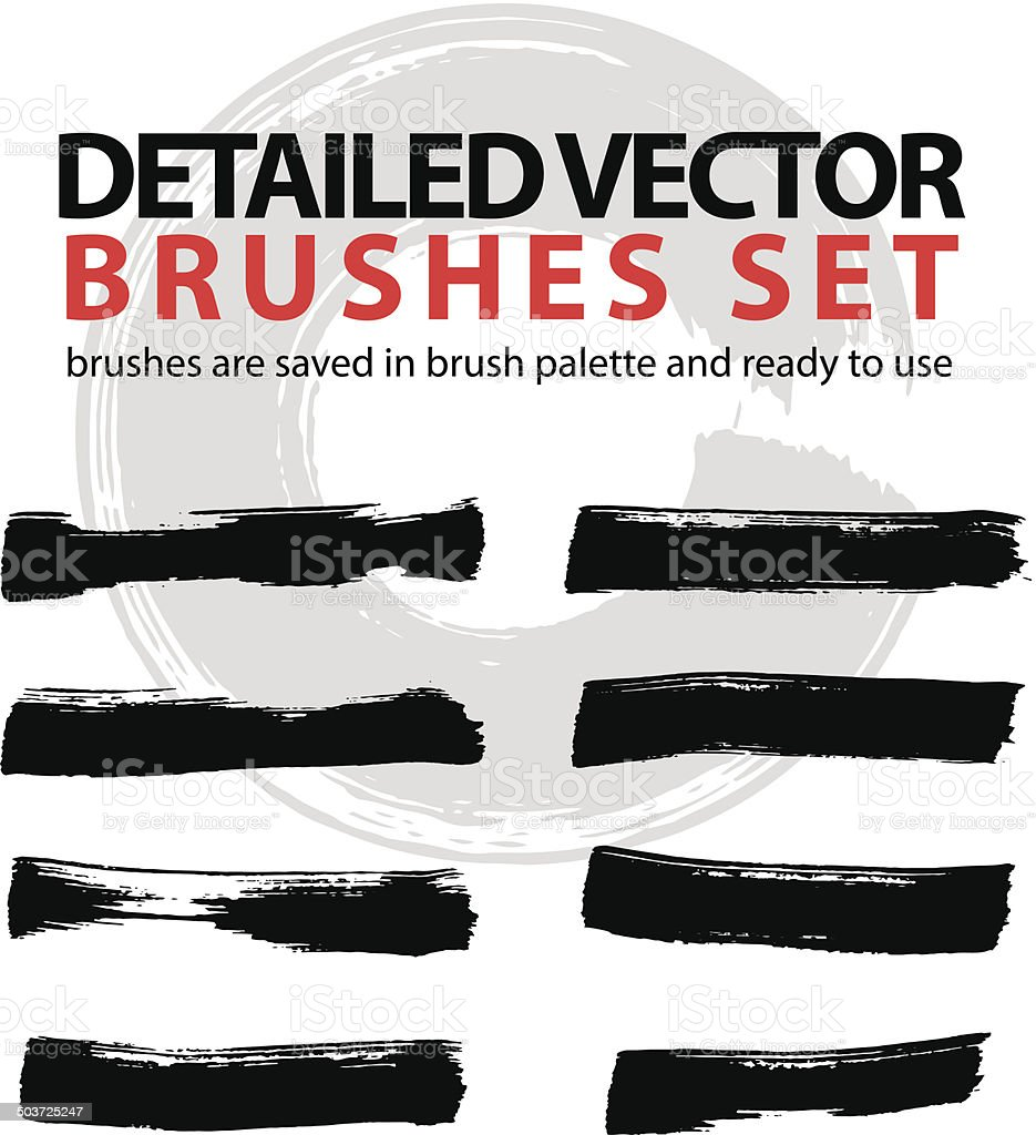 Set of highly detailed vector brush strokes, illustrator palette