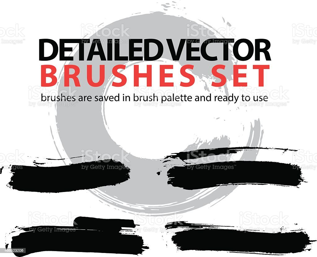 Set of highly detailed vector brush strokes, strokes