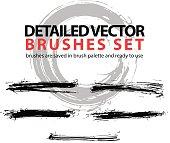Set of highly detailed vector torn brush strokes, illustrator
