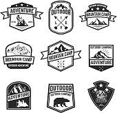 Set of hiking badges isolated on white background. Camping, outdoor ,adventure. Design elements for  label, emblem, sign. Vector illustration