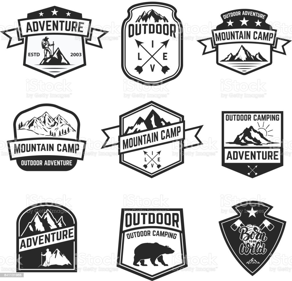 Set of hiking badges isolated on white background. Camping, outdoor ,adventure. vector art illustration