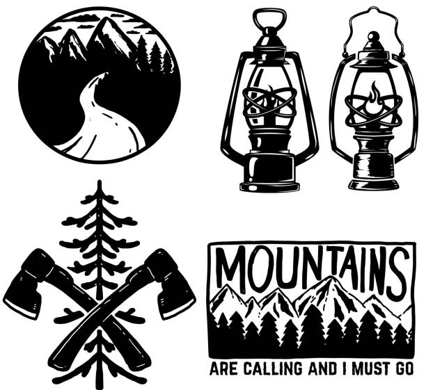 set of hiking icons. Kerosene lamp, axe, emblems with mountains. Design element for  label, sign, poster, menu. set of hiking icons. Kerosene lamp, axe, emblems with mountains. Design element for  label, sign, poster, menu. Vector illustration adventure drawings stock illustrations