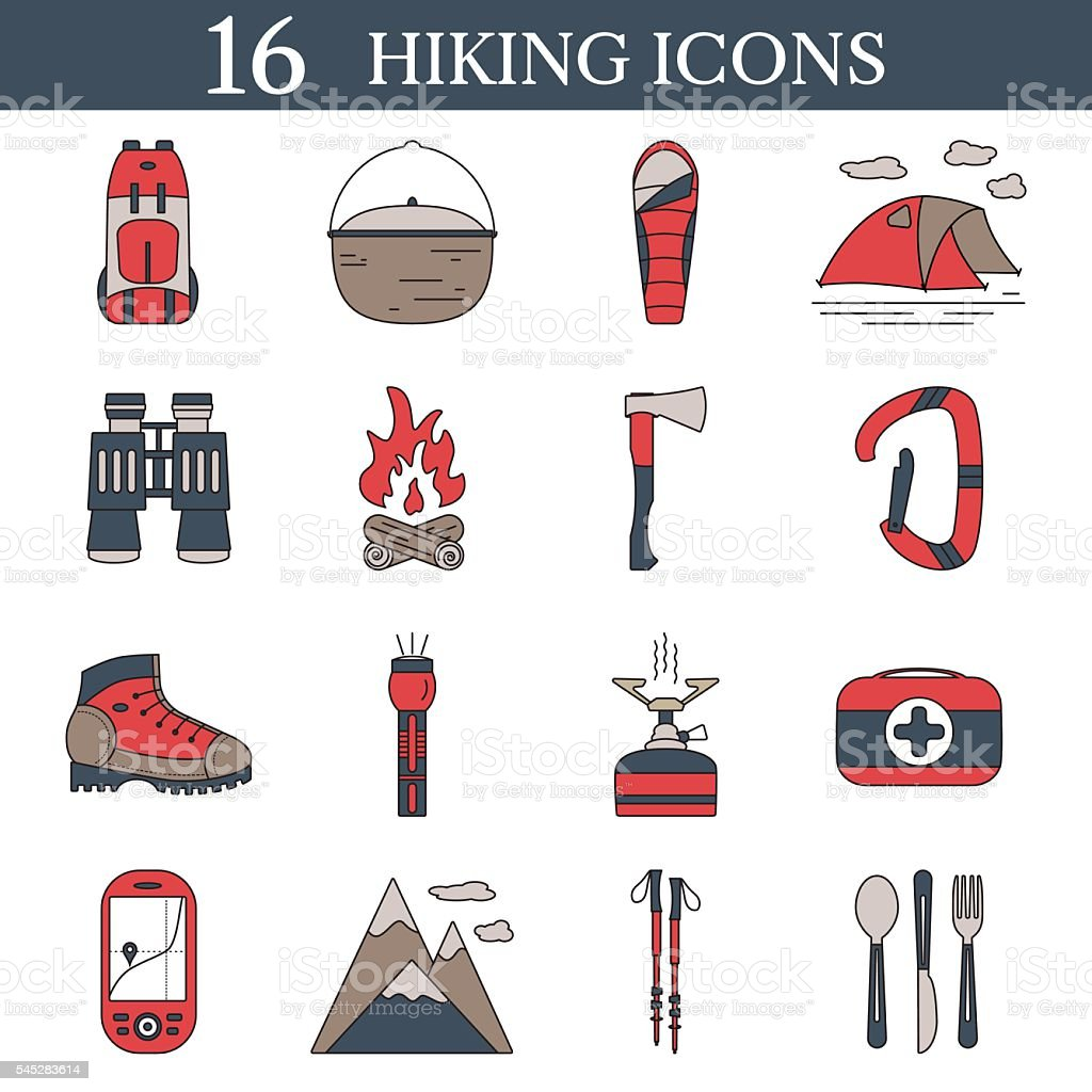 set of hiking icons vector outdoor symbols stock vector