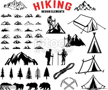 Set of hiking, outdoor, mountains design elements. Bears, trees, mountains, tents. Design elements for label, emblem, sign, poster. Vector illustration