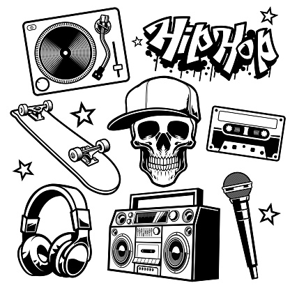 set of hip hop culture objects