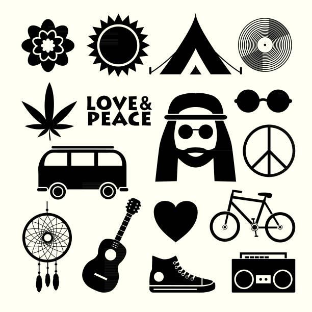 stockillustraties, clipart, cartoons en iconen met set van hippie plat pictogrammen - hippie