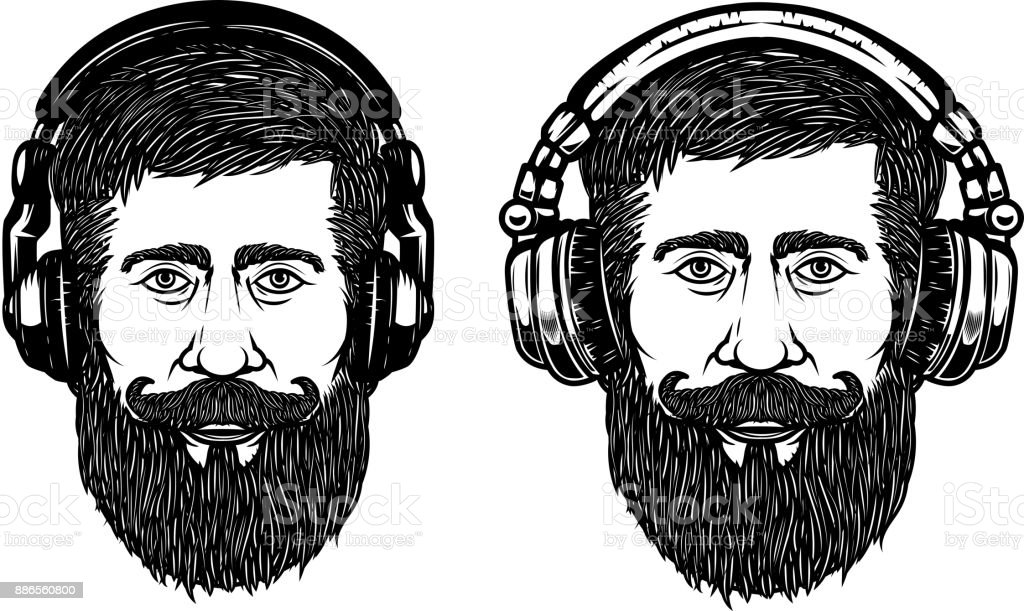 Set of hipster head with headphones. Design element for emblem, sign, label, poster. Vector illustration vector art illustration