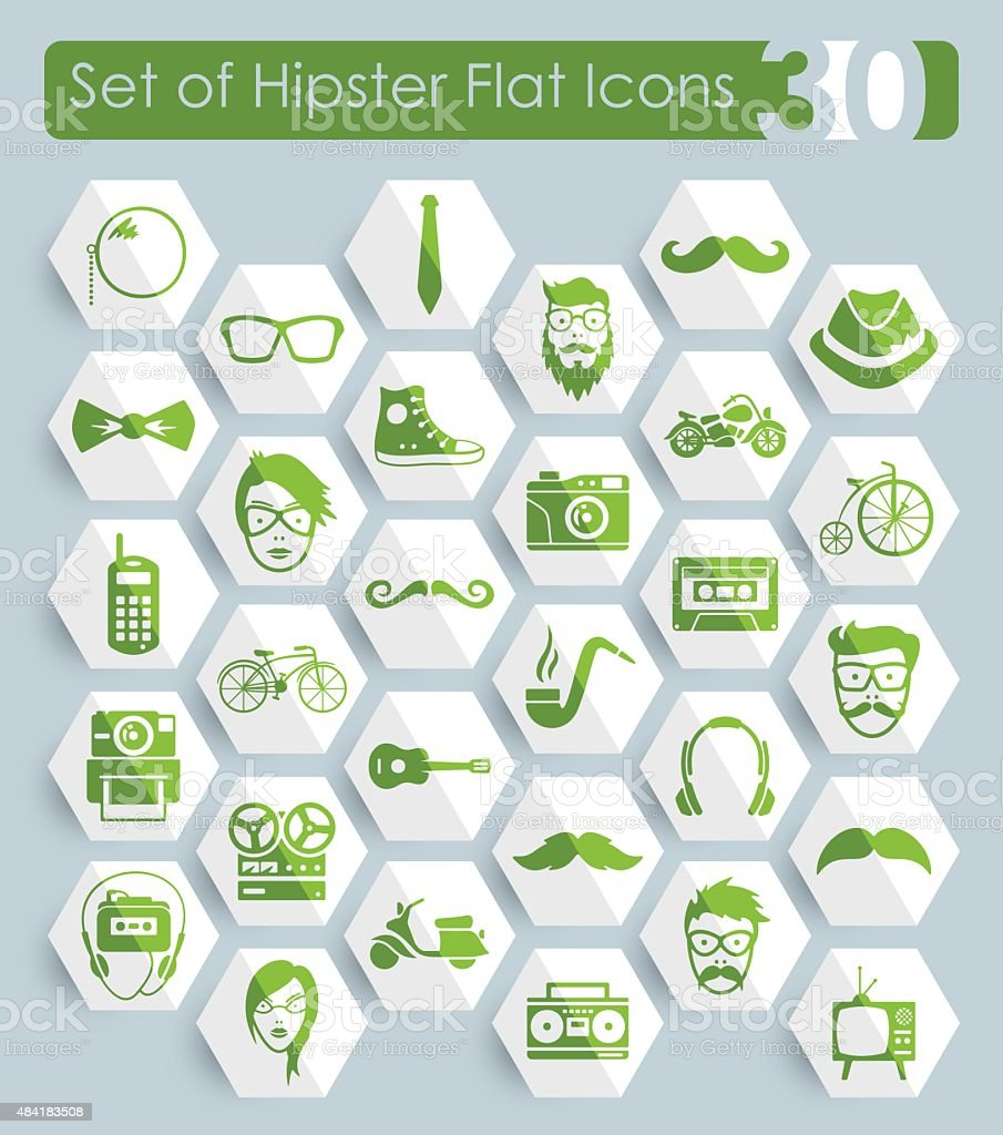 Set of hipster icons vector art illustration