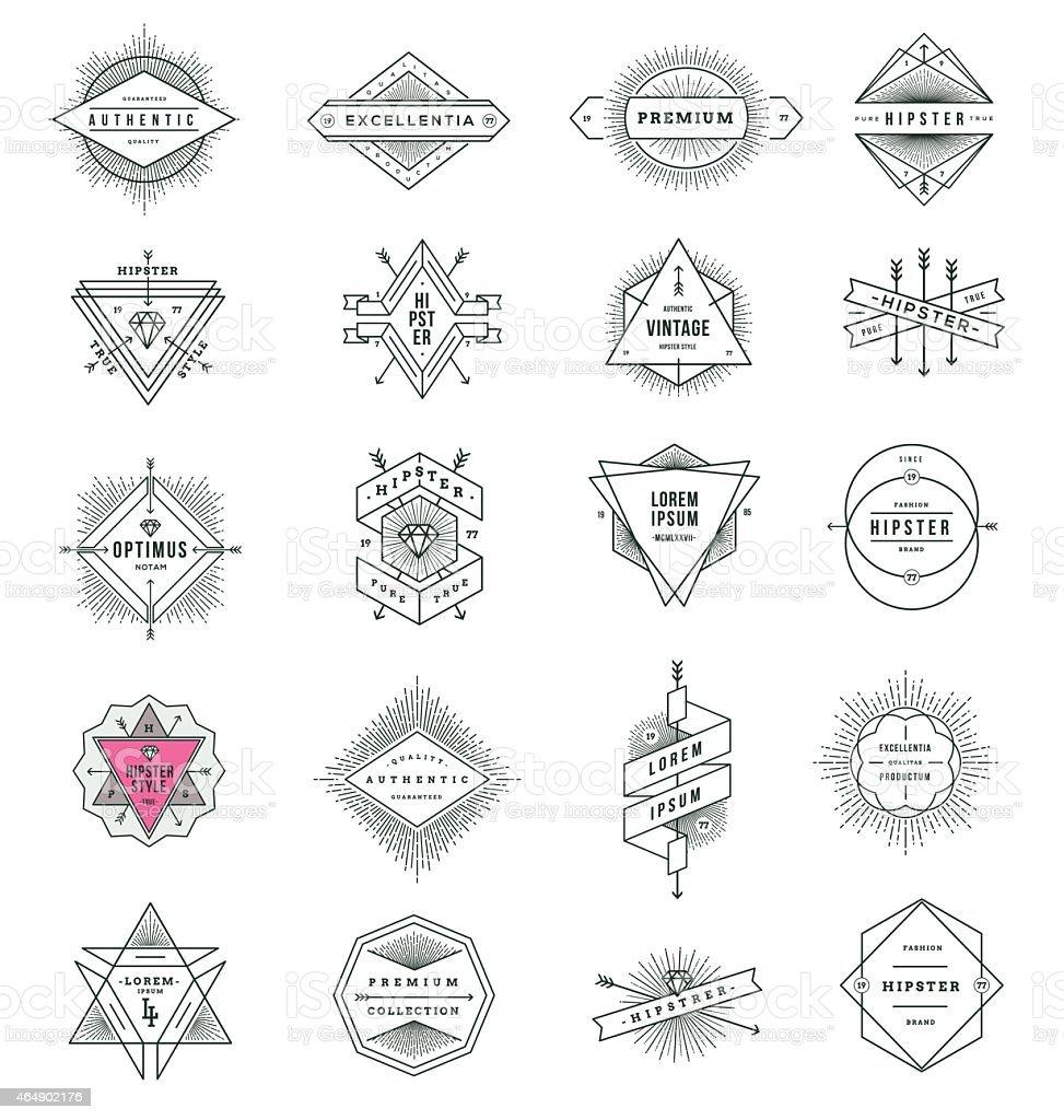 Set of hipster line signs and emblems with sunburst vector art illustration