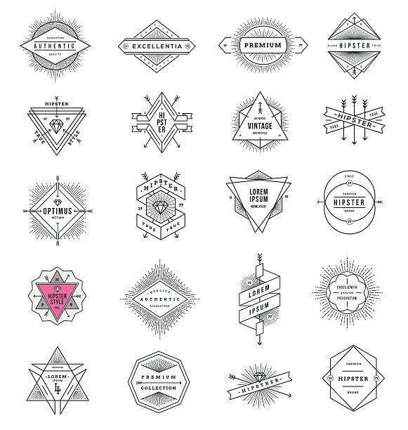 set of hipster line signs and emblems with sunburst - diamond tattoos stock illustrations, clip art, cartoons, & icons