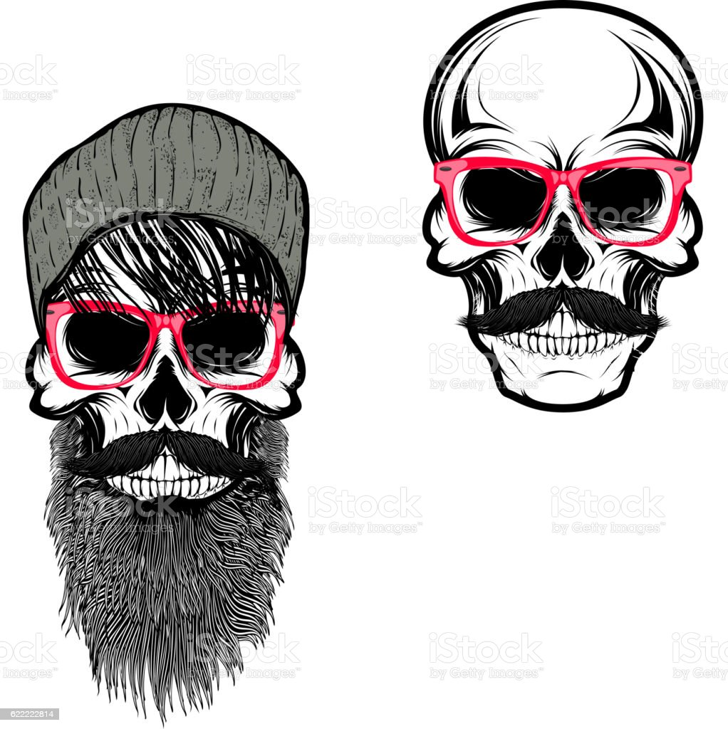 Set of  hipster skulls in hat and sunglases. Design elements vector art illustration