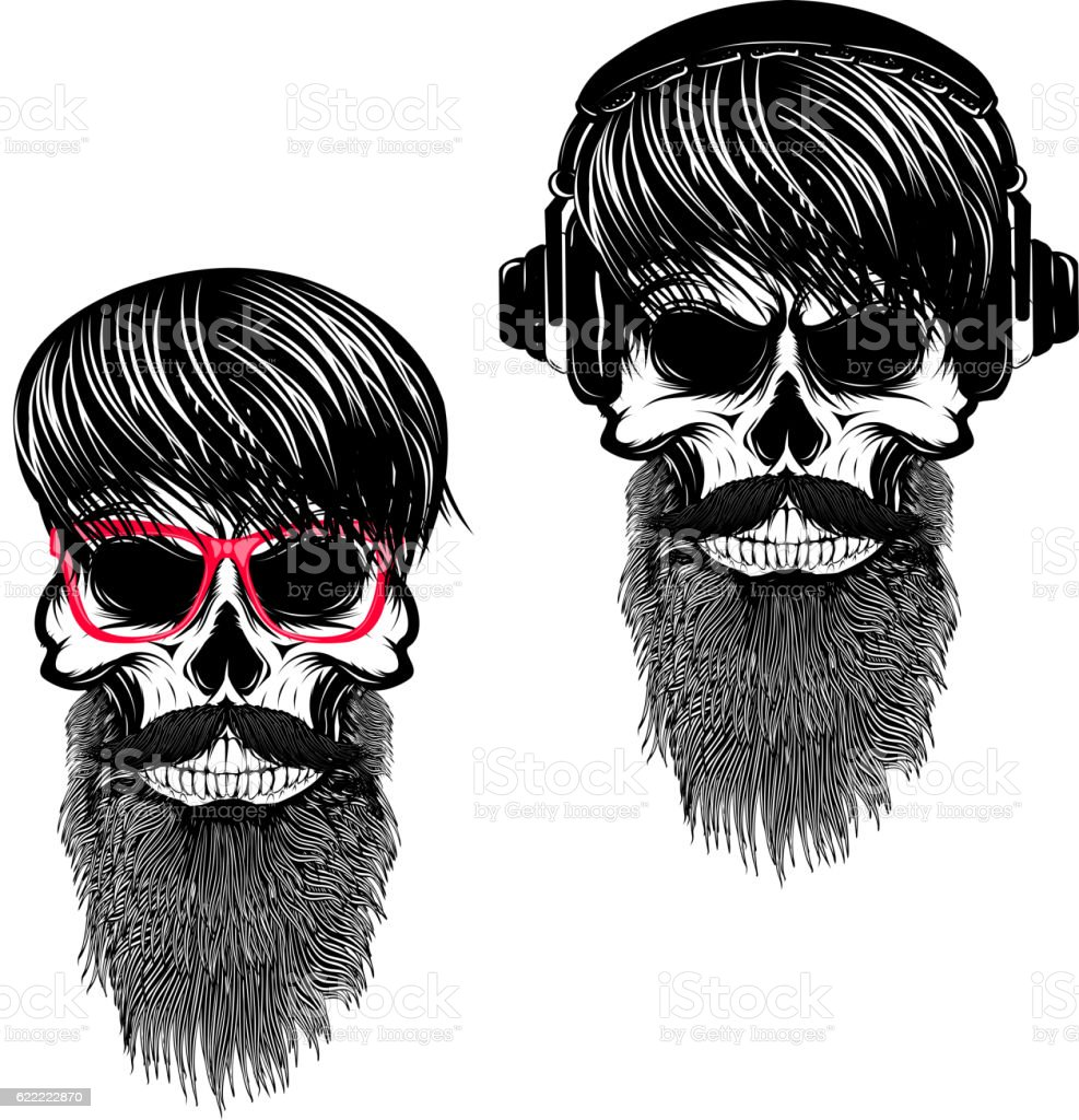 Set of  hipster skulls with hairstyle sunglases and headphones. vector art illustration