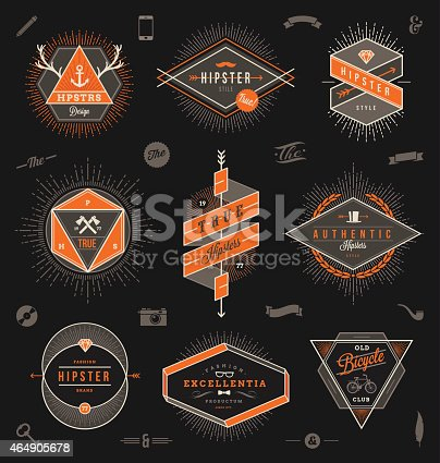 Set of hipster trendy emblems, labels and sign