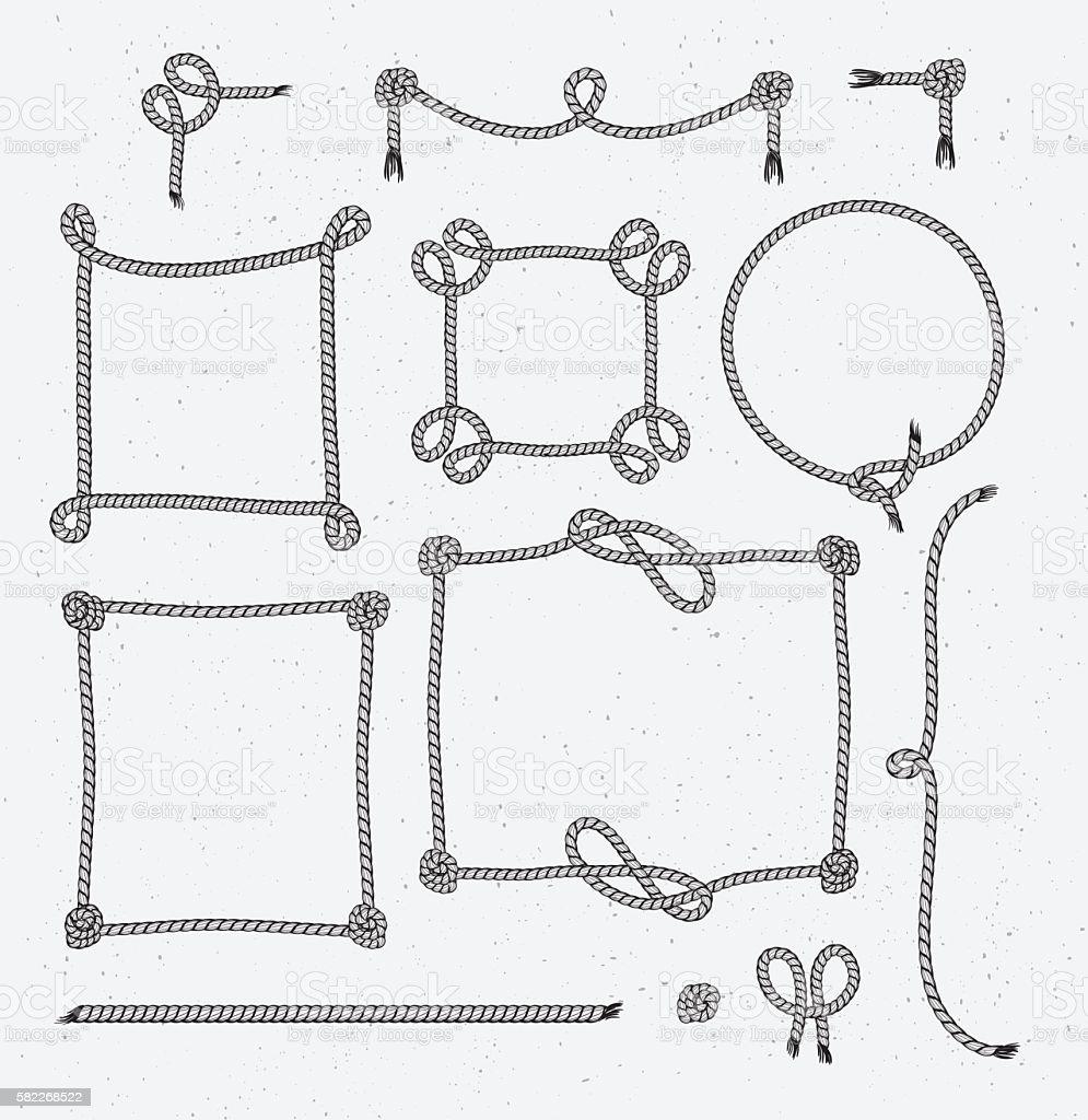 Set of Hipster Vintage Stylized Rope Frames. vector art illustration