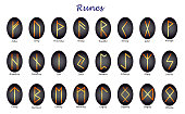 istock Set of historical runes with a yellow outline on a white background. 1217209596