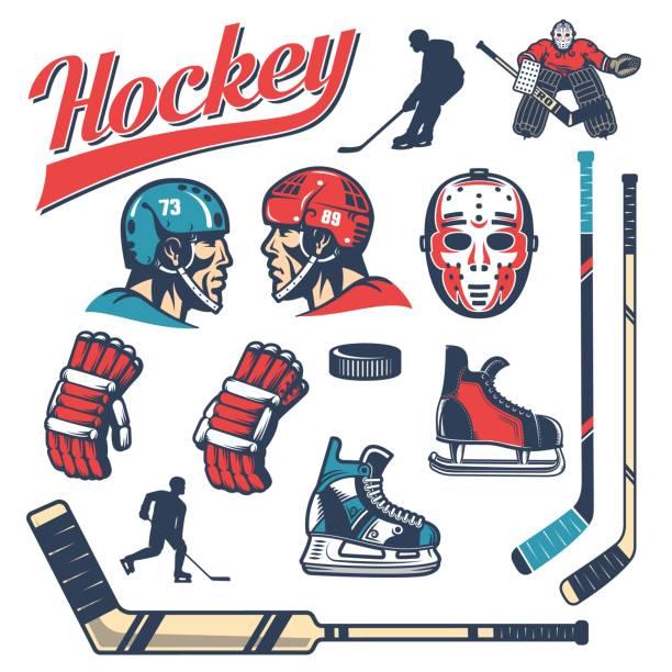illustrations, cliparts, dessins animés et icônes de ensemble d'éléments de conception du hockey dans un style rétro - hockey