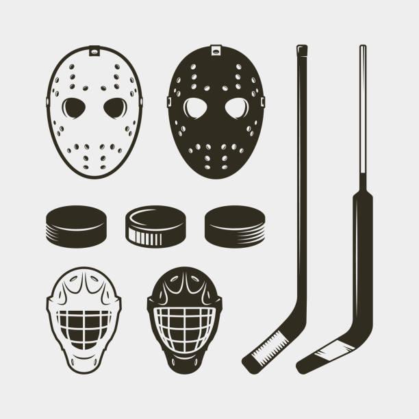 illustrations, cliparts, dessins animés et icônes de ensemble d'équipement et de matériel de hockey. casque, masque et rondelle. illustration vectorielle - hockey