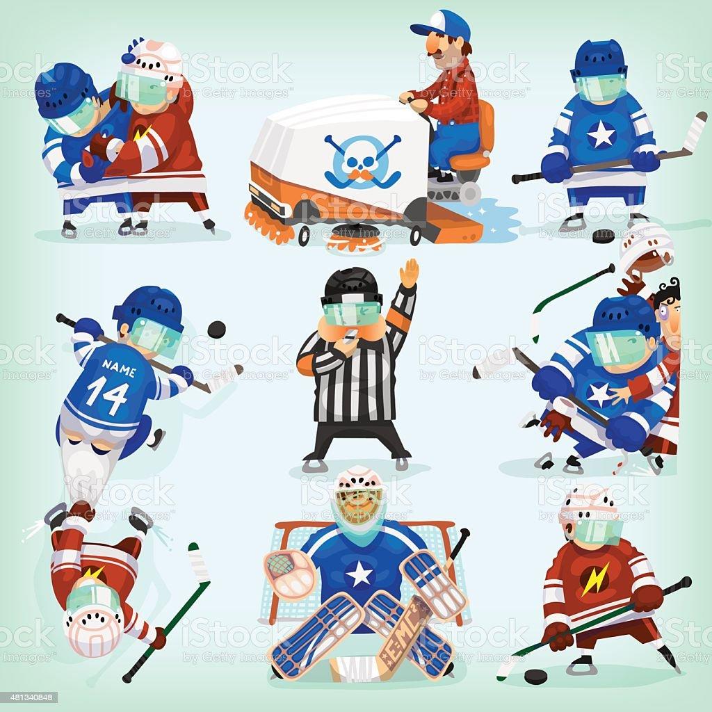 Set of hockey players vector art illustration