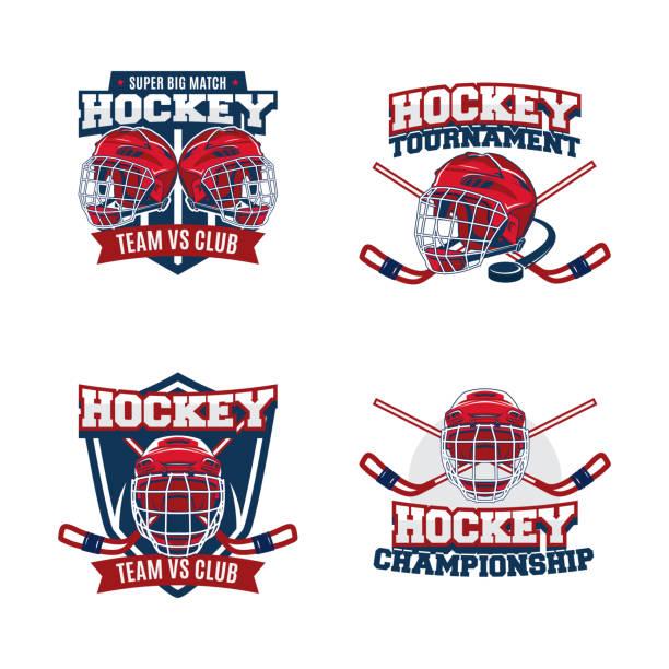 illustrations, cliparts, dessins animés et icônes de ensemble de modèle de vecteur de conception de logo de l'équipe de hockey. collection d'identité de badge de club sportif. illustration de casque avec le graphisme de logo. - hockey